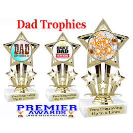 """Dad theme trophy with choice of 8 designs.  6"""" tall.  Our exclusive designs!  (767"""
