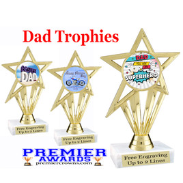 """Dad theme trophy with choice of 8 designs.  6"""" tall.  Our exclusive designs!  (ph30"""