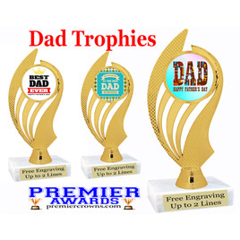 """Dad theme trophy with choice of 8 designs.  6"""" tall.  Our exclusive designs!  (ph102"""