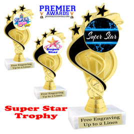 """Super Star theme trophy with choice of art work.   6"""" tall  (ph106"""