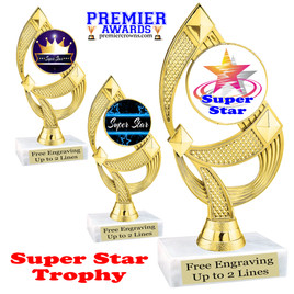 """Super Star theme trophy with choice of art work.   6 1/2"""" tall  (ph108"""