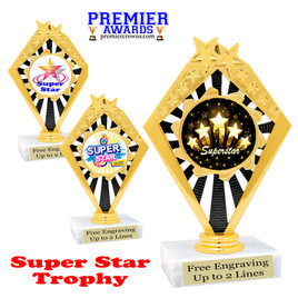 """Super Star theme trophy with choice of art work.   6 """" tall  (92656"""
