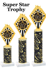 Super Star  trophy with star art work insert.  Available in numerous trophy heights.   Super Star  92656