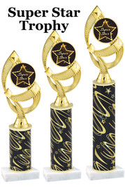 Super Star  trophy with star art work insert.  Available in numerous trophy heights.   Super Star  ph108