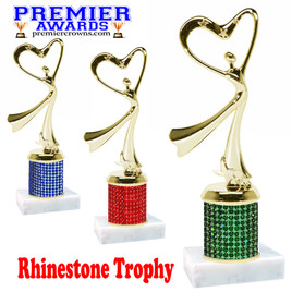 Rhinestone Trophy!  Flowing Victory with heart Figure. Column is completely covered with rhinestones.  Choice of stone color and trophy height.