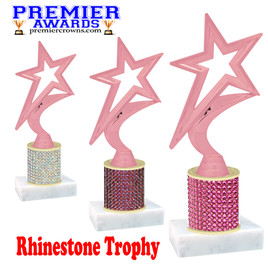 Rhinestone Trophy! Star Figure. Column is completely covered with rhinestones.  Choice of stone color and trophy height.   5000P