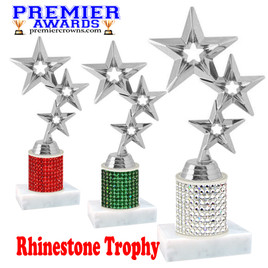 Rhinestone Trophy! Star Figure. Column is completely covered with rhinestones.  Choice of stone color and trophy height.   5061s
