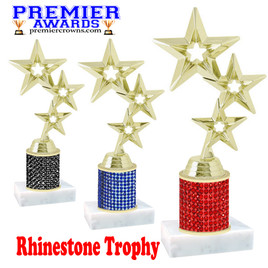 Rhinestone Trophy! Star Figure. Column is completely covered with rhinestones.  Choice of stone color and trophy height.   5061g