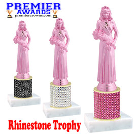 Rhinestone Trophy! Pink Queen Figure. Column is completely covered with rhinestones.  Choice of stone color and trophy height.