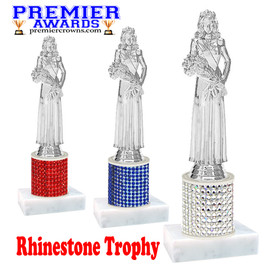 Rhinestone Trophy! Silver Queen Figure. Column is completely covered with rhinestones.  Choice of stone color and trophy height.