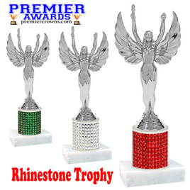 Rhinestone Trophy! Silver Victory Figure. Column is completely covered with rhinestones.  Choice of stone color and trophy height.