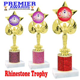 Rhinestone Trophy! Victory figure with crown insert. Column is completely covered with rhinestones.  Choice of stone color and trophy height.
