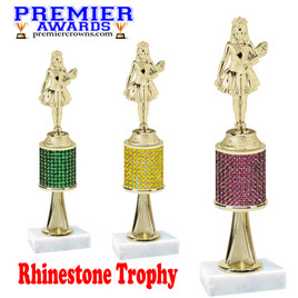 "Rhinestone Trophy! Queen  Figure.  Trophy height starts at 10"" tall.  Rhinestone column.  Choice of stone color and trophy height.   JR Queen figure with stem"