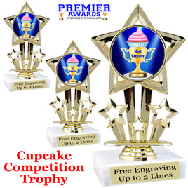 "Cupcake title trophy.  6""tall with choice of title for your winner!  Great for Cupcake wars and baking contests.  (767"