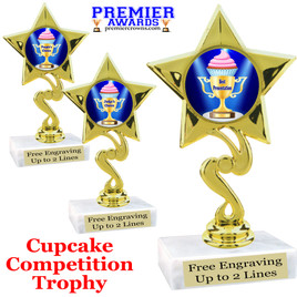 "Cupcake title trophy.  6""tall with choice of title for your winner!  Great for Cupcake wars and baking contests.  (80106"