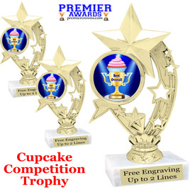 "Cupcake title trophy.  6""tall with choice of title for your winner!  Great for Cupcake wars and baking contests.  (h208"