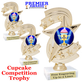"Cupcake title trophy.  6""tall with choice of title for your winner!  Great for Cupcake wars and baking contests.  (h300"