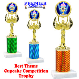 Cupcake title trophy.  BEST THEME  title.  Great for Cupcake wars and baking contests.  (80087