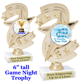 """Game night trophy.  6""""tall with choice of insert design.  Great award for your Family Game Nights!  h300"""
