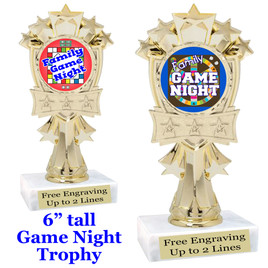 """Game night trophy.  6""""tall with choice of insert design.  Great award for your Family Game Nights! mf3260"""