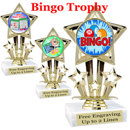 """BINGO!  trophy.  6""""tall with choice of insert design.  Great award for your Bingo games and  Family Game Nights! 767"""