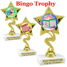 """BINGO!  trophy.  6""""tall with choice of insert design.  Great award for your Bingo games and  Family Game Nights! 80106"""