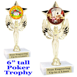 """POKER  trophy.  6""""tall with choice of insert design.  Great award for your Poker games and  Family Game Nights! 7517"""