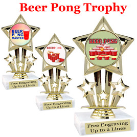 """BEER PONG  trophy.  6""""tall with choice of insert design.  Great award for your Beer Pong games and  Family Game Nights! 767"""