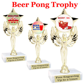 """BEER PONG  trophy.  6""""tall with choice of insert design.  Great award for your Beer Pong games and  Family Game Nights! 7517"""