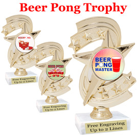 """BEER PONG  trophy.  6""""tall with choice of insert design.  Great award for your Beer Pong games and  Family Game Nights! h300"""