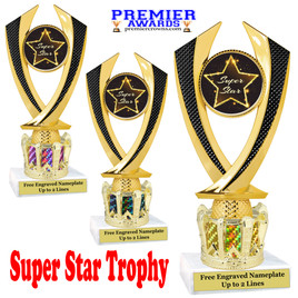 """Super Star figure on crown riser.  Choice of crown insert color.  8"""" tall.  4516"""