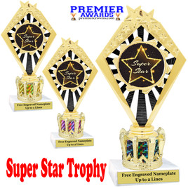 """Super Star figure on crown riser.  Choice of crown insert color.  8"""" tall - 92656"""