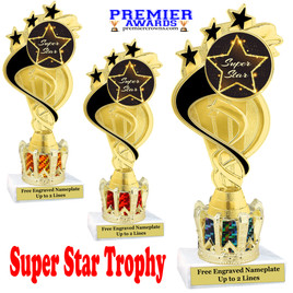 """Super Star figure on crown riser.  Choice of crown insert color.  8"""" tall - ph106"""