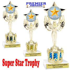 """Super Star figure on crown riser.  Choice of crown insert color.  8"""" tall - 7517"""