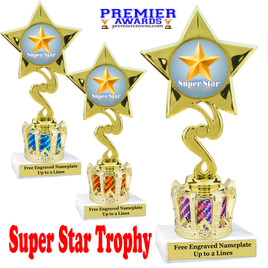 """Super Star figure on crown riser.  Choice of crown insert color.  8"""" tall - 80106"""
