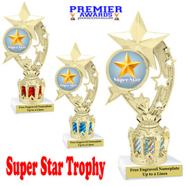 """Super Star figure on crown riser.  Choice of crown insert color.  8"""" tall - h208"""