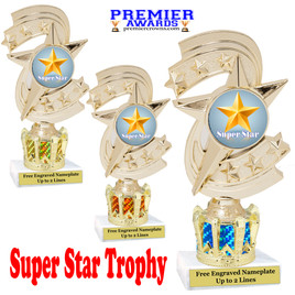 """Super Star figure on crown riser.  Choice of crown insert color.  8"""" tall - h300"""