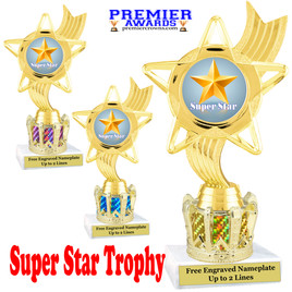 """Super Star figure on crown riser.  Choice of crown insert color.  8"""" tall -ph27"""