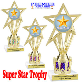 """Super Star figure on crown riser.  Choice of crown insert color.  8"""" tall -ph30"""