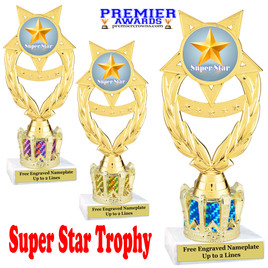 """Super Star figure on crown riser.  Choice of crown insert color.  8"""" tall -ph97"""