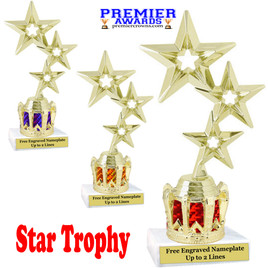 """Star figure on crown riser.  Choice of crown insert color.  8"""" tall - gold 3-star"""