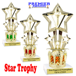 """Star figure on crown riser.  Choice of crown insert color.  8"""" tall - 764"""