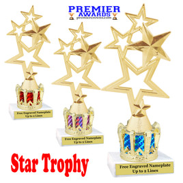 """Star figure on crown riser.  Choice of crown insert color.  8"""" tall - 4115"""