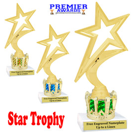 """Star figure on crown riser.  Choice of crown insert color.  8"""" tall - 5000G"""