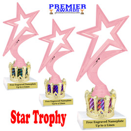 """Star figure on crown riser.  Choice of crown insert color.  8"""" tall - 5000p"""