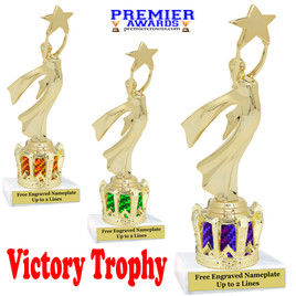 """Victory with Star figure on crown riser.  Choice of crown insert color.  8"""" tall - 5087"""