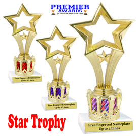 """Star figure on crown riser.  Choice of crown insert color.  8"""" tall - open star"""