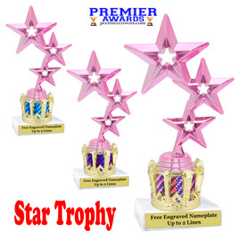 """Star figure on crown riser.  Choice of crown insert color.  8"""" tall - 3 stars pink"""