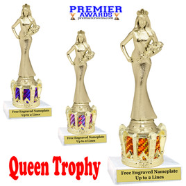 """Queen figure on crown riser.  Choice of crown insert color.  8"""" tall - Sr Queen"""