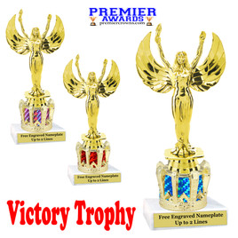 """Victory figure on crown riser.  Choice of crown insert color.  8"""" tall - victory"""